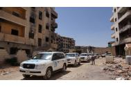 Inter-agency convoy reaches the besieged town of Daraya in Syria delivering life-saving assistance. Photo: WHO/Azret Kalmykov 2016