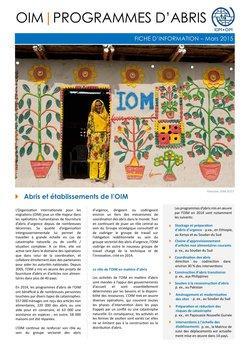 OIM Programmes d'Abris Fiche d'Information - Mars 2015