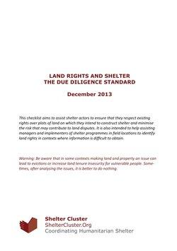 Land Rights and Shelter - The Due Diligence Standard