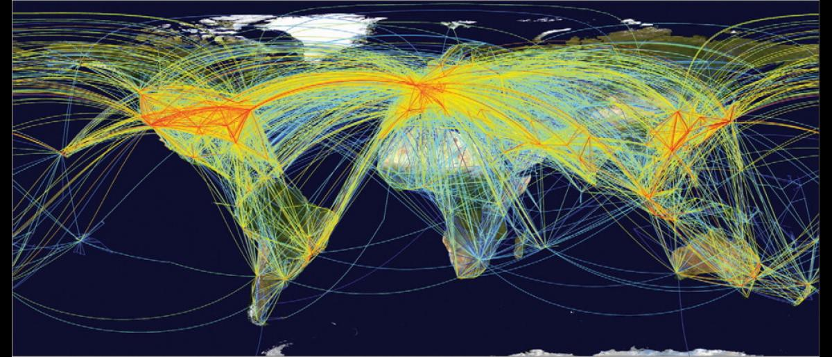 """""""The global aviation network"""" taken from Kilpatrick AM, Randolph SE: Drivers, dynamics, and control of emerging vector-borne zoonotic diseases; The Lancet; Volume 380: 1946–55; December 2012"""