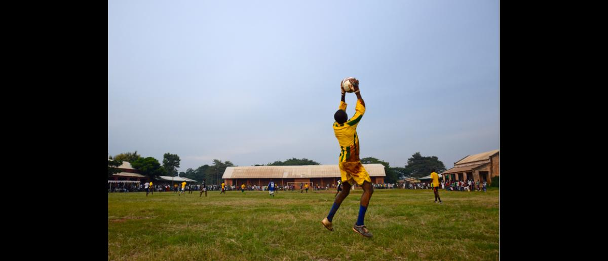 The football match was played between two teams from the third district who had not played each other since December when violence intensified in Bangui and the league closed down. © IOM 2014 (Photo by Sandra Black)