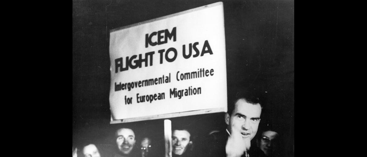 United States Vice President Richard Nixon, welcome escapees to Vienna's international airport for the first ICEM flight to the United States. Photo © IOM 1957 – HAT0202