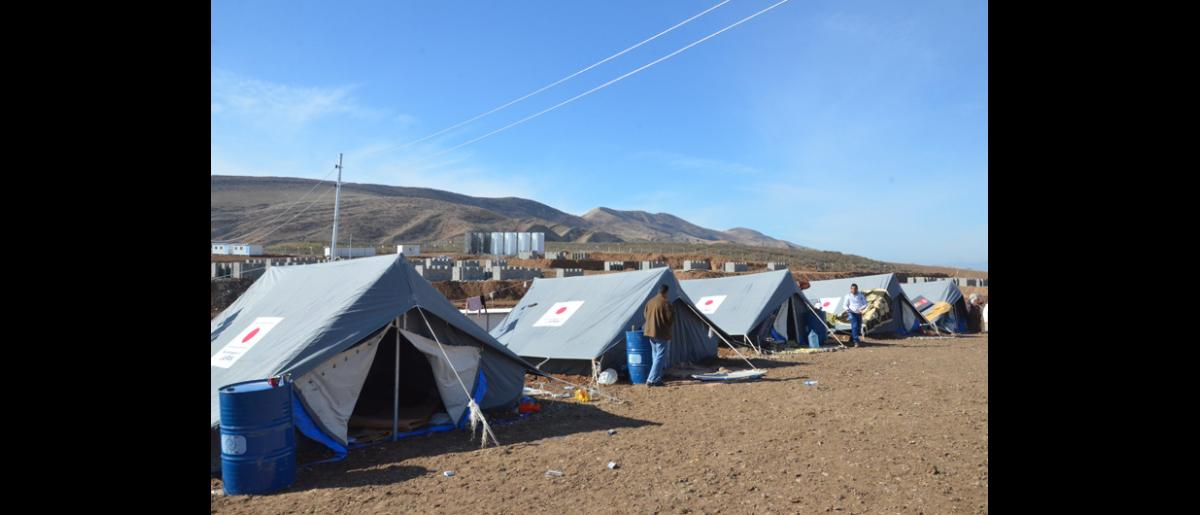 Tents donated by the Japanese government to Syrian refugees in Basirma Camp in Erbil governorate in northern Iraq. © IOM 2014