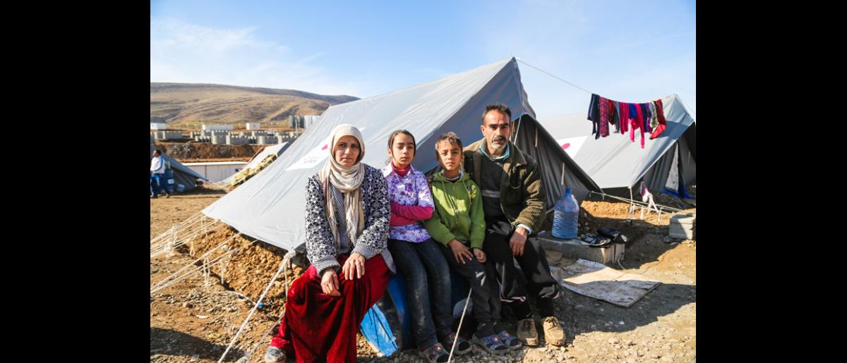 Khalil Ibrahim, 48, a Syrian refugee from Aleppo and one of the beneficiaries of the tents donated by the Japanese government. © IOM 2014