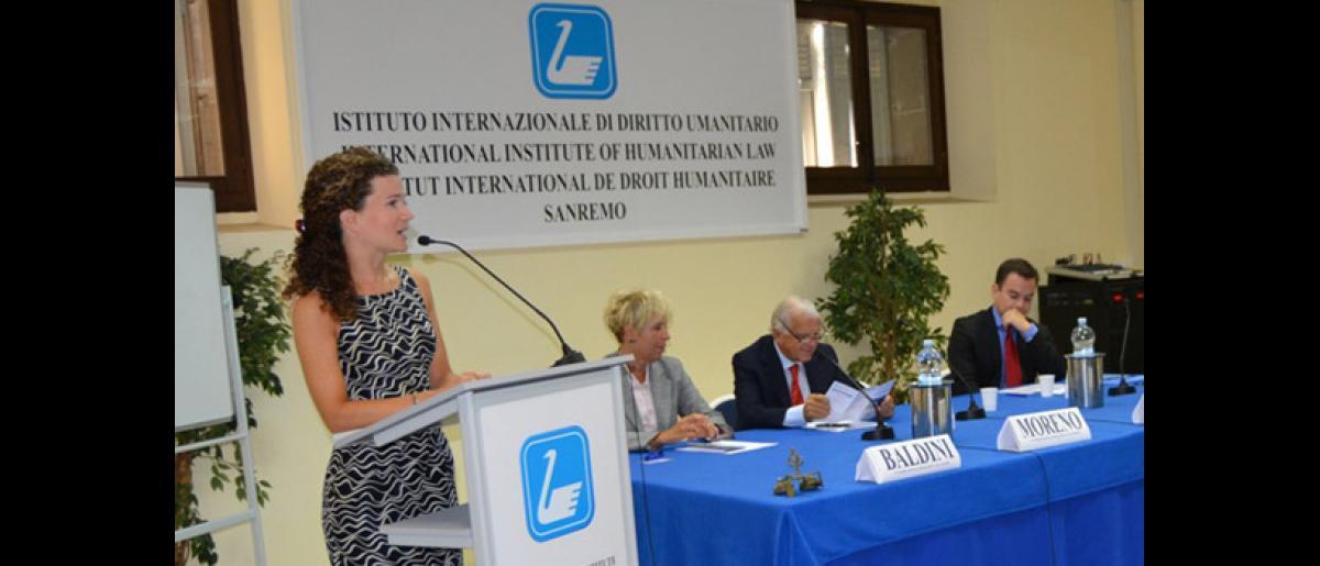 Course opening. Speaker: Dr. Kristina Touzenis. Also on the picture: Dr. Stefania Baldini, IIHL Secretary General, Ambassador Maurizio Moreno, President, IIHL, and Mr. Daniel Redondo, Training-Project Officer, IOM
