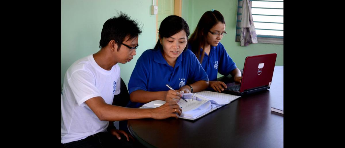 """Utilizing Health Data to Improve Service Delivery: """"Improving the availability and quality of health data can support more targeted health interventions such as including migrants in routine healthcare provision. At township level our monitoring and evaluation team is supporting the Township Health Department to improve analysis and use of data."""" Dr. Thiha Htun, Senior Programme Associate, IOM Myanmar © IOM 2013 (Photo by Thiha Htun)"""