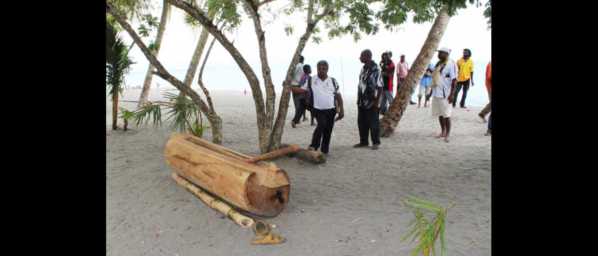 Un garamut, autrement dit un tronc d'arbre évidé, utilisé pour donner l'alarme dans des villages isolés de Papouasie-Nouvelle-Guinée. Quand on le tape avec un bâton, il produit un son grave reconnaissable entre tous. Il a été réintroduit dans le village côtier de Labu Tale dans le cadre d'un programme OIM/USAID de gestion des risques de catastrophe à l'échelle locale. © OIM 2014 (Photo de Joe Lowry)