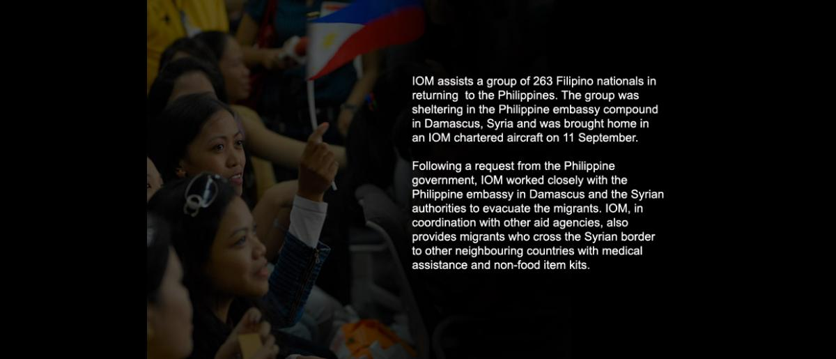 A petición del Gobierno filipino, el 11 de septiembre se produjo el retorno, a bordo de un vuelo fletado por la OIM, de un grupo de 263 nacionales filipinos.  Para ello, la Organización trabajó en estrecha colaboración con la Embajada de Filipinas en Damasco y las autoridades sirias. © OIM 2012 (Foto: Ray Leyesa)