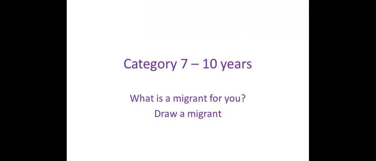 Categoria 7 a 10 años Para ti, qué es un migrante ? Dibuja un migrante