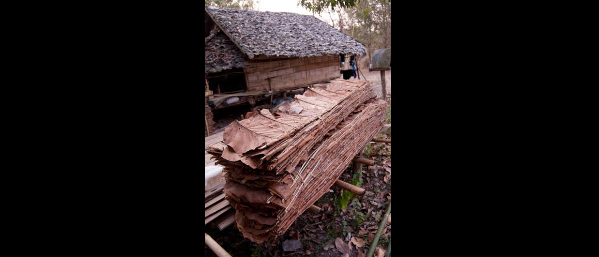 "The ""planks"" made from banana leaves used for wall material that Tzing and his family sell. This stack sells for about USD1.50.  © Mikel Flamm 2013"