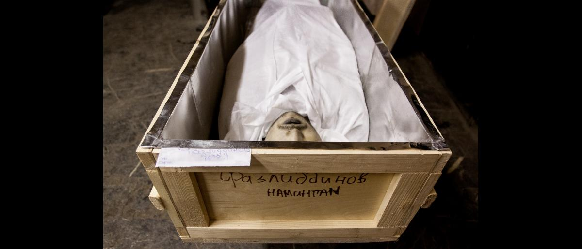 The morgue at the hospital number 9. GRUZ -200 (dead body cargo). 19-year-old citizen of Uzbekistan Abdusamad Fazliddinov hanged himself in insolation at preliminary detention number 4 after illegal interrogations conducted with him without a lawyer. Moscow. Russia