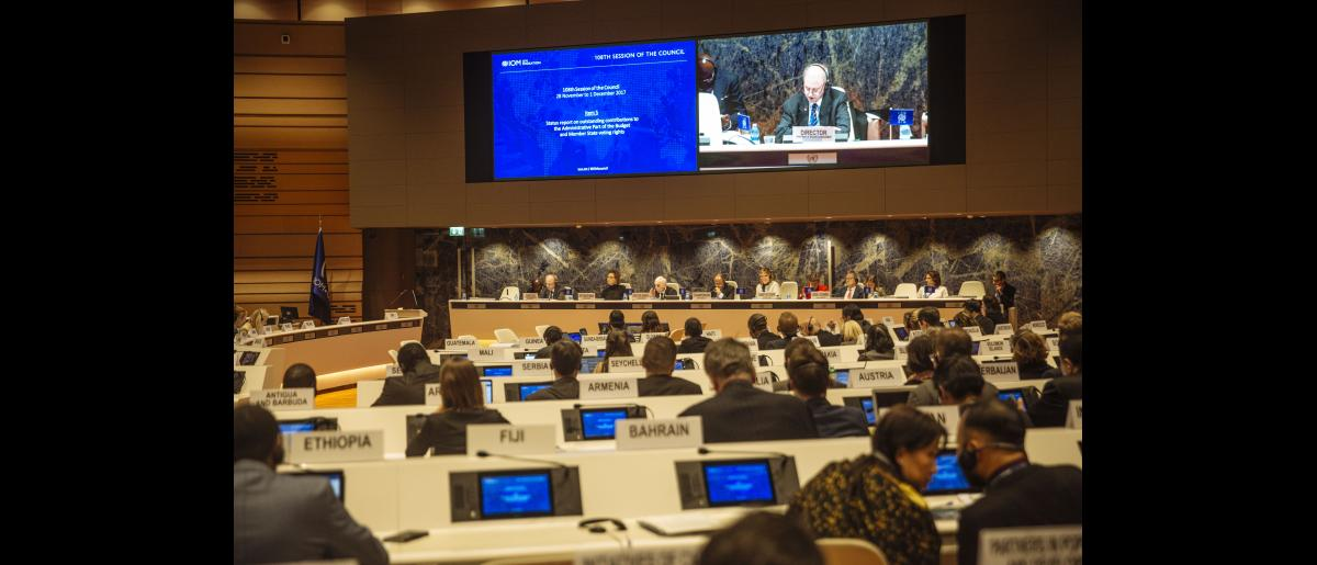 Several member states and other representatives attend the 108th session of the IOM Council in Geneva, Switzerland. IOM's consutrction project in Micronesia is one of the misson's largest project with the construction of hundreds of houses and public infrastructures across several islands that were impacted by the effects of typhoon Haiyan.