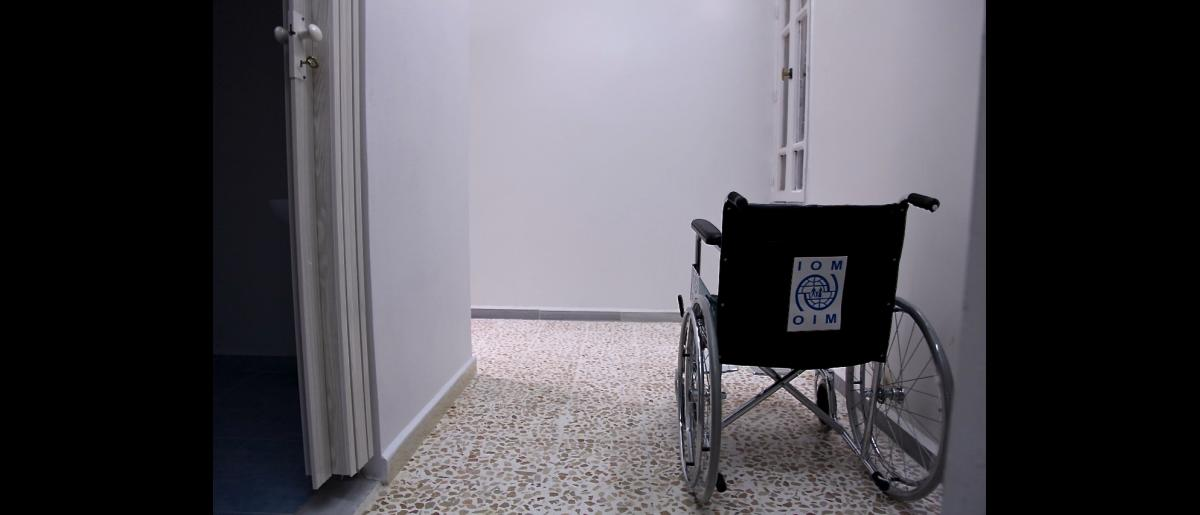 A wheelchair amongst other equipment are added to the newly inaugurated prosthetic limbs centre in Homs.  Photo: IOM/Batoul Ibrahim 2016