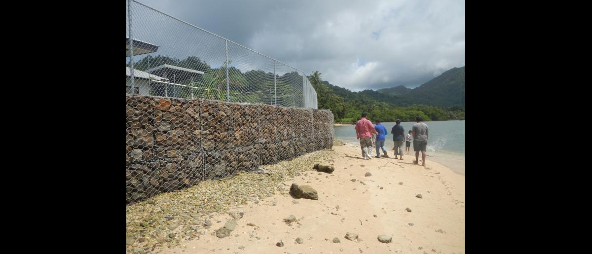 A 250-foot Gabion wall will protect schoolchildren from coastal erosion and maritime surges