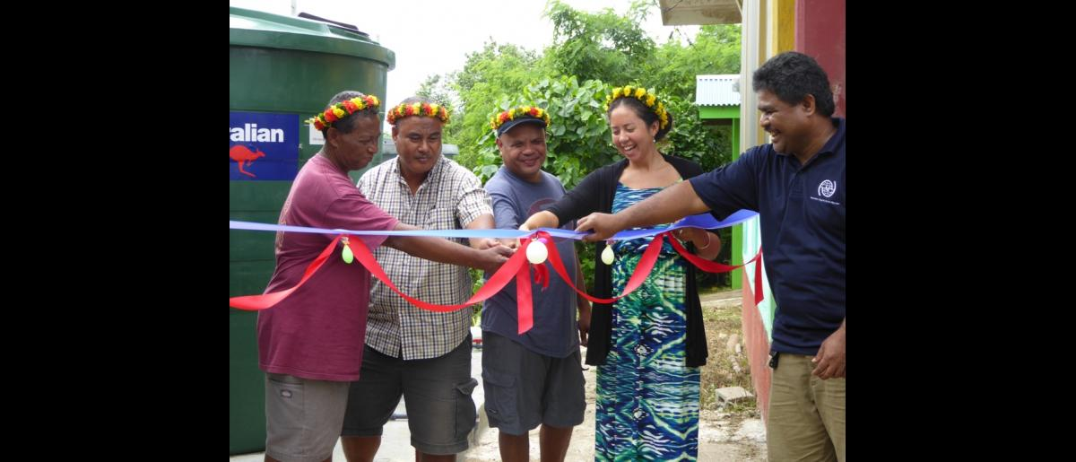 A colourful ribbon-cutting ceremony at Gilam Elementary school, Yap, Micronesia.