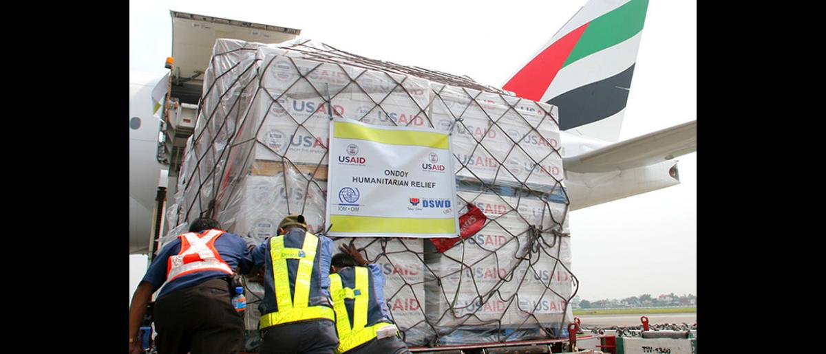 """Contents of a box of relief items donated by USAID's Office of Foreign Disaster Assistance (OFDA). IOM will distribute the items in the hardest hit areas, together with over 20,000 water purification bottles. © IOM 2009 (Photo: Ray Leyesa)"""""""