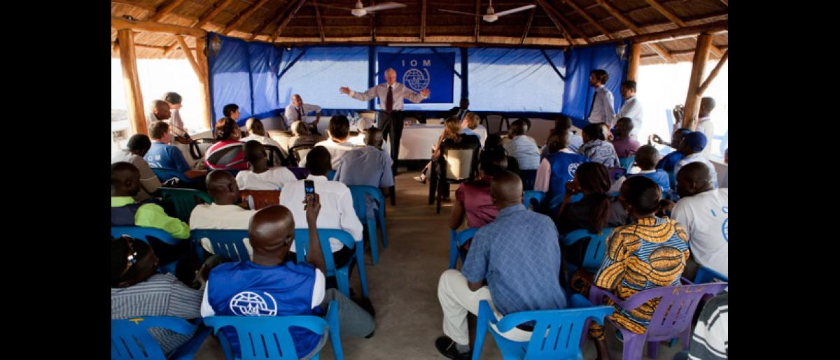 IOM Director General William Lacy Swing addresses staff at the IOM compound on hits visit to South Sudan in February 2012. © IOM 2012 (Photo by Jasper Llanderal)