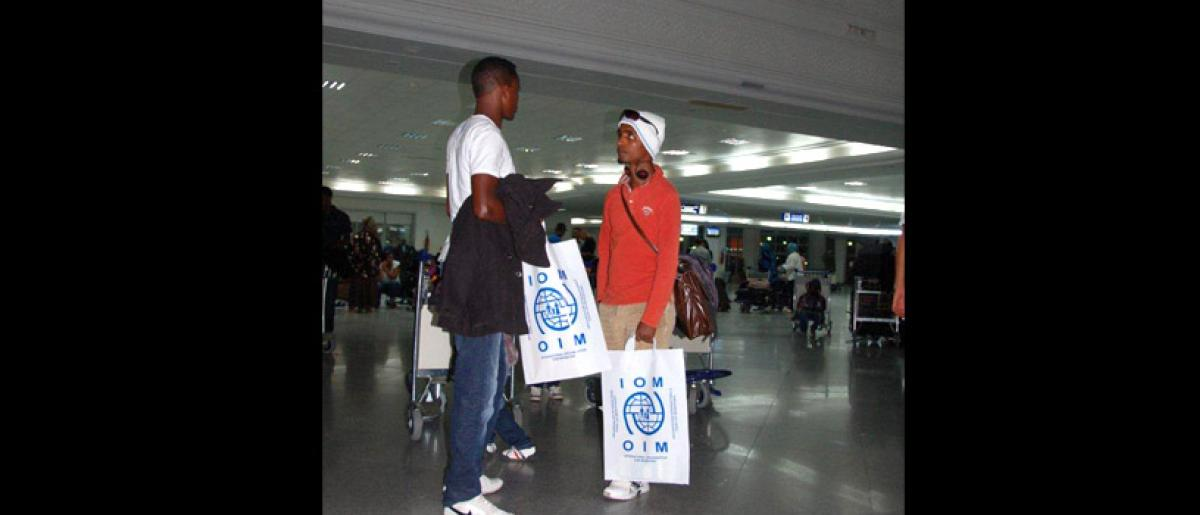 IOM arranges a charter flight from Djerba to Hannover on behalf of the German government for the refugees. They will also transport the refugees by bus from the Shousha transit camp to Djerba airport. © IOM 2012