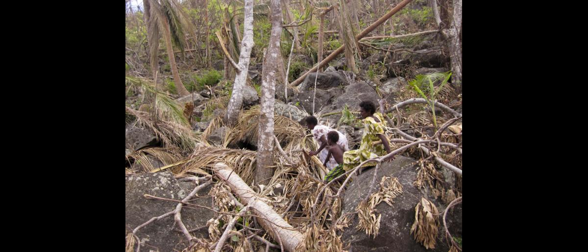 26 March 2015, Mataso island, Vanuatu: As the cyclone smashed buildings and hurled debris, the community of around 120 people hid children between these rocks and protected the hiding places with their own bodies. © IOM/Maria Moita 2015