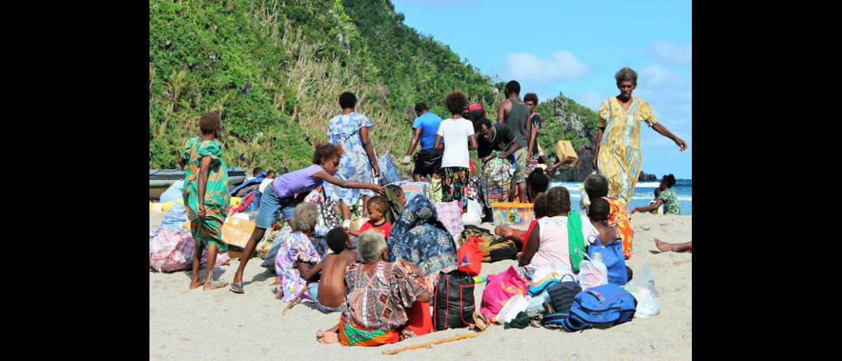 13 May 2015, Mataso island, Vanuatu: Those who were temporarily relocated to Port Vila include children and their mothers, elderly people and those living with a disability. © UNDP/Francisco Santos-Jara del Padron 2015